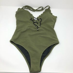 Cupshe One Piece Halter Olive Green Bathing Suit